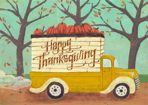 Happy Thanksgiving Hand Lettering Truck With Pumpkins