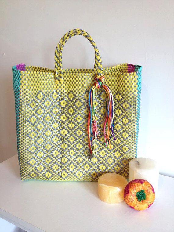 Handmade woven plastic tote bag mexican artisan oaxaca bag ...