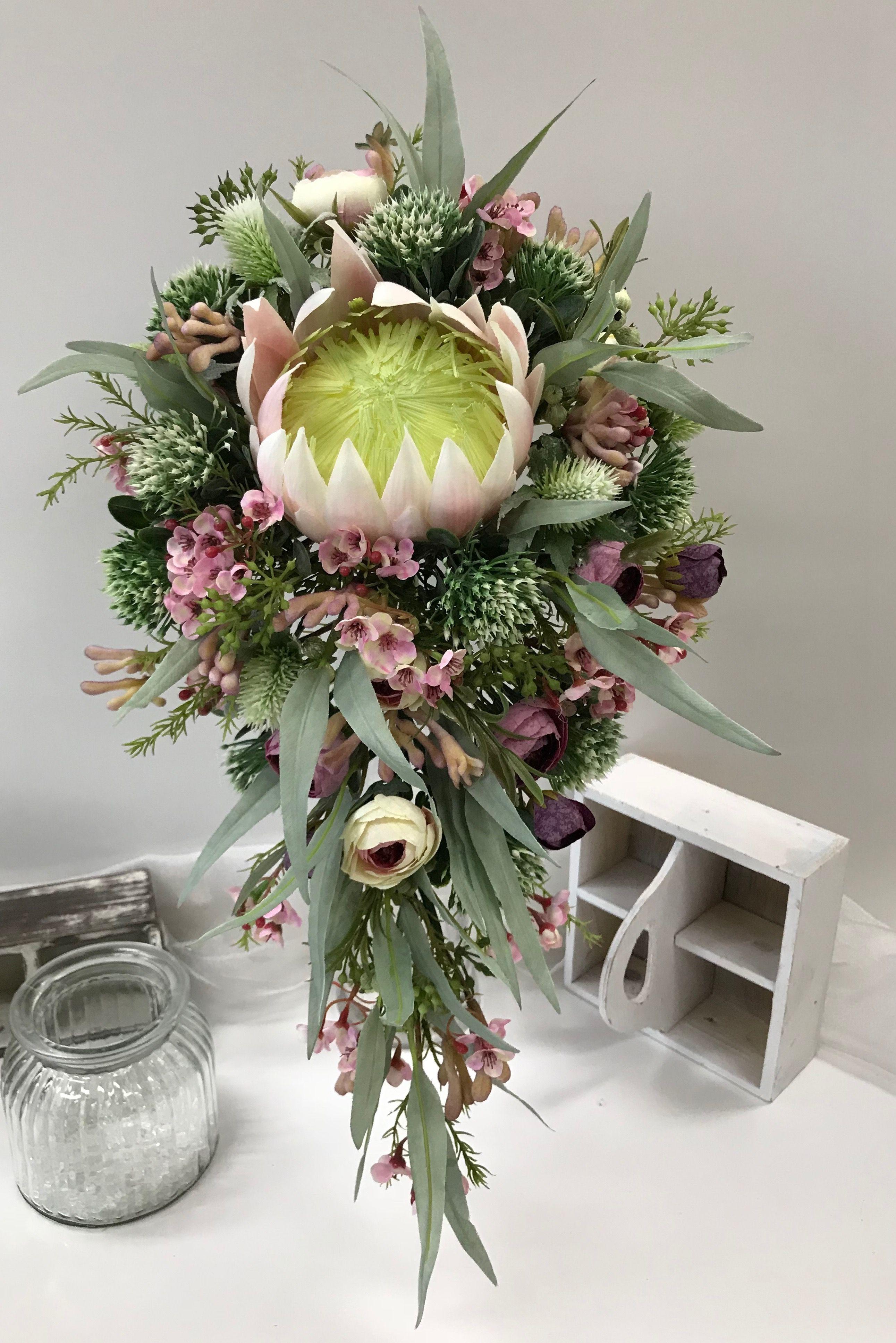 Native flower rustic teardrop bouquet soft pink dusty green floral native flower rustic teardrop bouquet soft pink dusty green izmirmasajfo