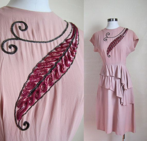 40s Dress / 1940s Crepe Amazing DRAPING and by GuermantesVintage, $175.00. esp for the beading!