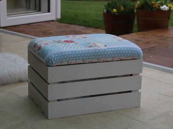 Wooden Storage Box/Padded Seat Footstool/Ottoman Crate/Upholstered Floral  Patchwork Fabric Seat