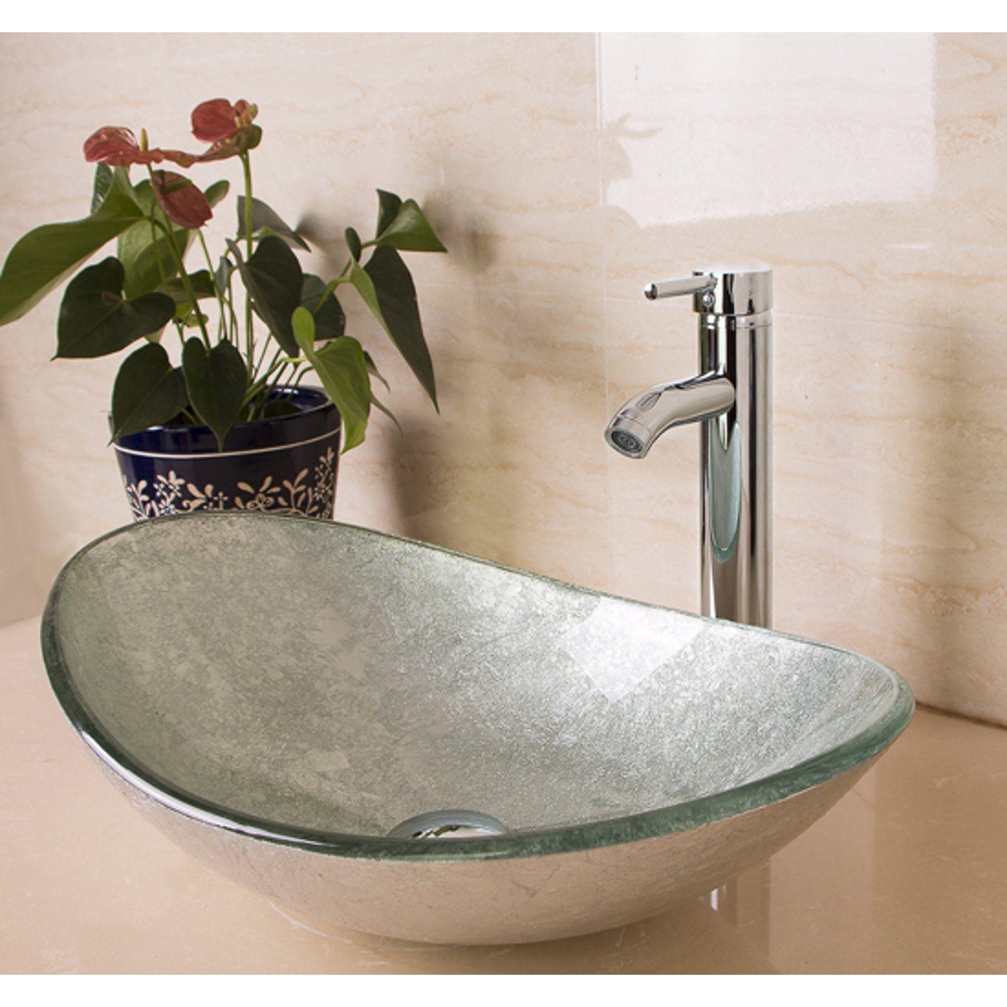 Walcut Bathroom Vanity Art Oval Glass Vessel Sink Basin Faucet Popup Drain Combo New Walmart Com Bathroom Sink Bowls Glass Vessel Sinks Glass Sink [ 2000 x 2000 Pixel ]