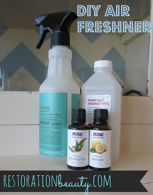Freshener DIY Air Freshener: 1 cup water (not pictured), 2 tablespoons alcohol, 20-30 drops essential oil/s, 1 tablespoon of baking sodaDIY Air Freshener: 1 cup water (not pictured), 2 tablespoons alcohol, 20-30 drops essential oil/s, 1 tablespoon of baking sodaAir Freshener DIY Air Freshener: 1 cup water (not pictured), 2 tablespoons alcohol, 20-30 drops essen...