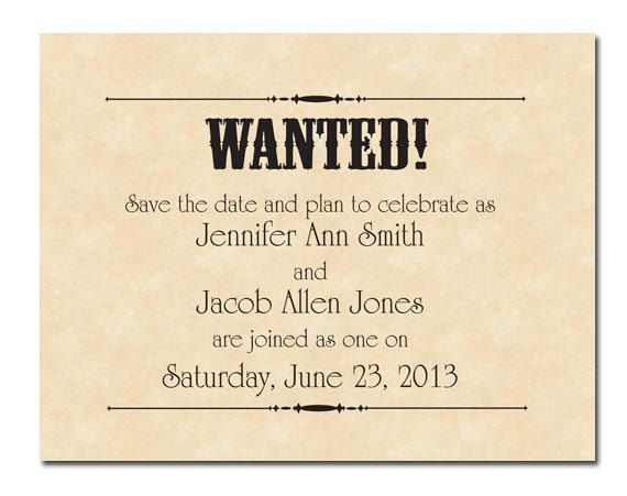 Wanted Poster Printable Wedding Save the Dates Country Wedding - printable wanted posters