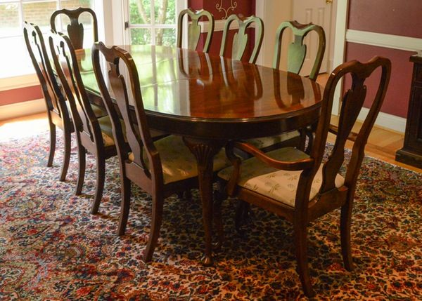 Drexel Heritage Mahogany Dining Room Table And Chairs Dining