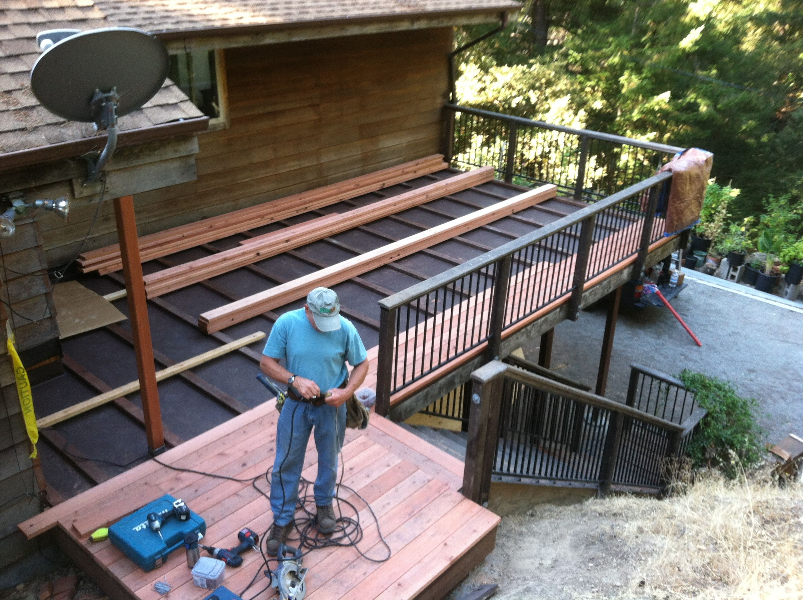 New redwood deck over carport http for Carport deck