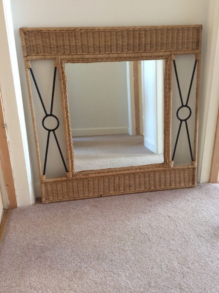 Vintage Wrought Iron And Wicker Rattan Framed Large Square Wall Mirror Ebay