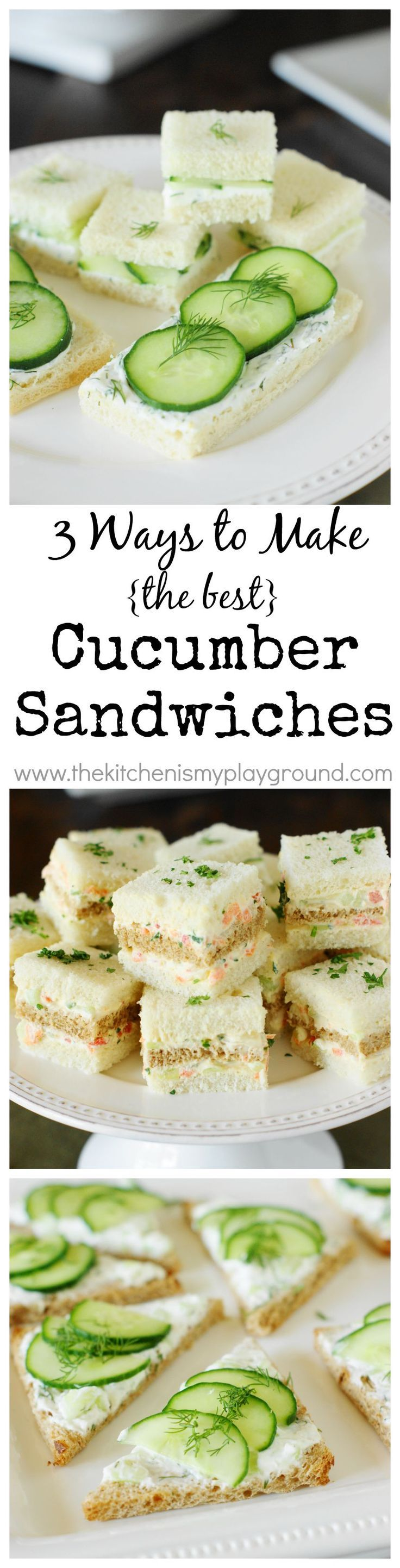 cucumber tea sandwiches 3 spreads 3 ways easy dinner recipes pinterest teeparty. Black Bedroom Furniture Sets. Home Design Ideas