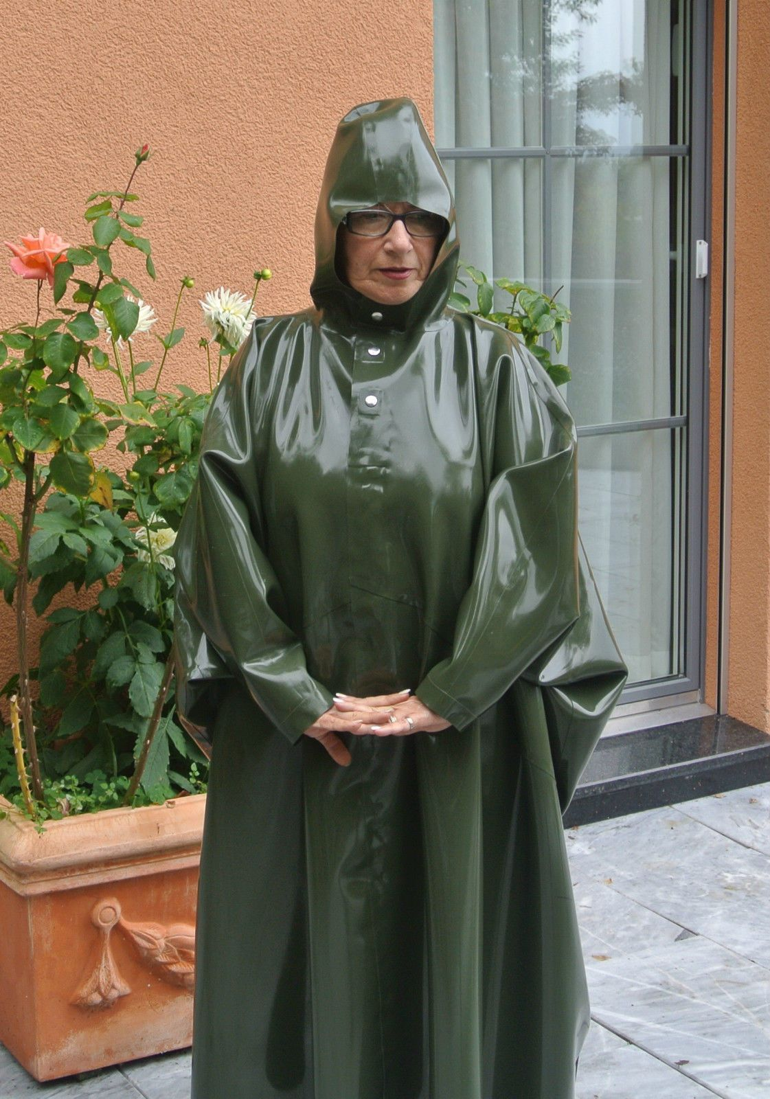 Regenponcho Damen Gummi Latex Rubber Regen Poncho Articles Latex Très Utiles