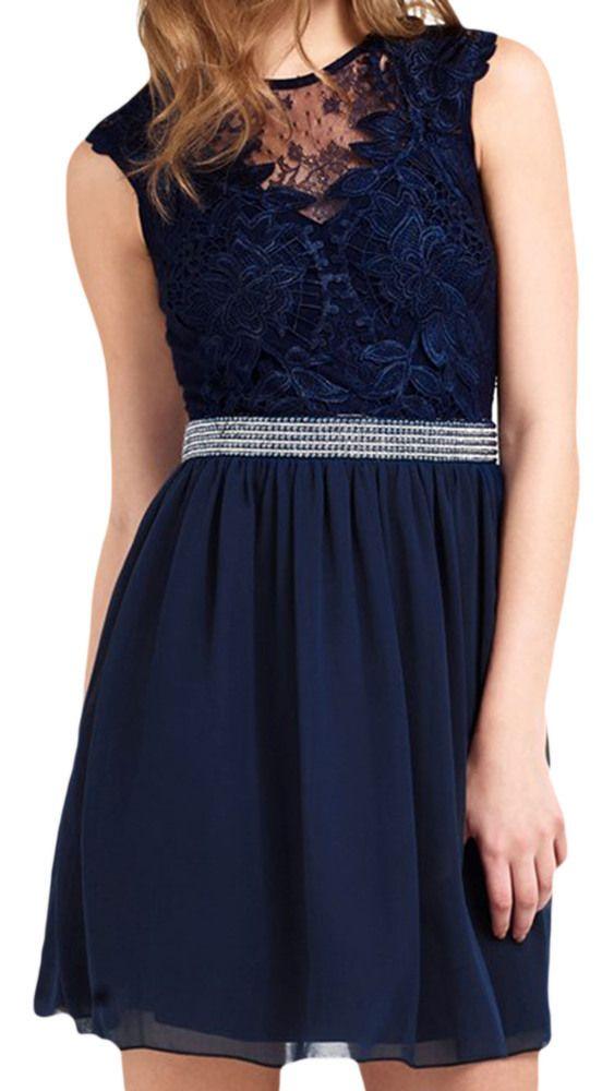 damen kleid mit rückenausschnitt spitze, dunkelblau, s-l