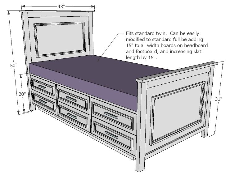 Fillman Storage Bed With Drawers Bed Woodworking Plans Diy