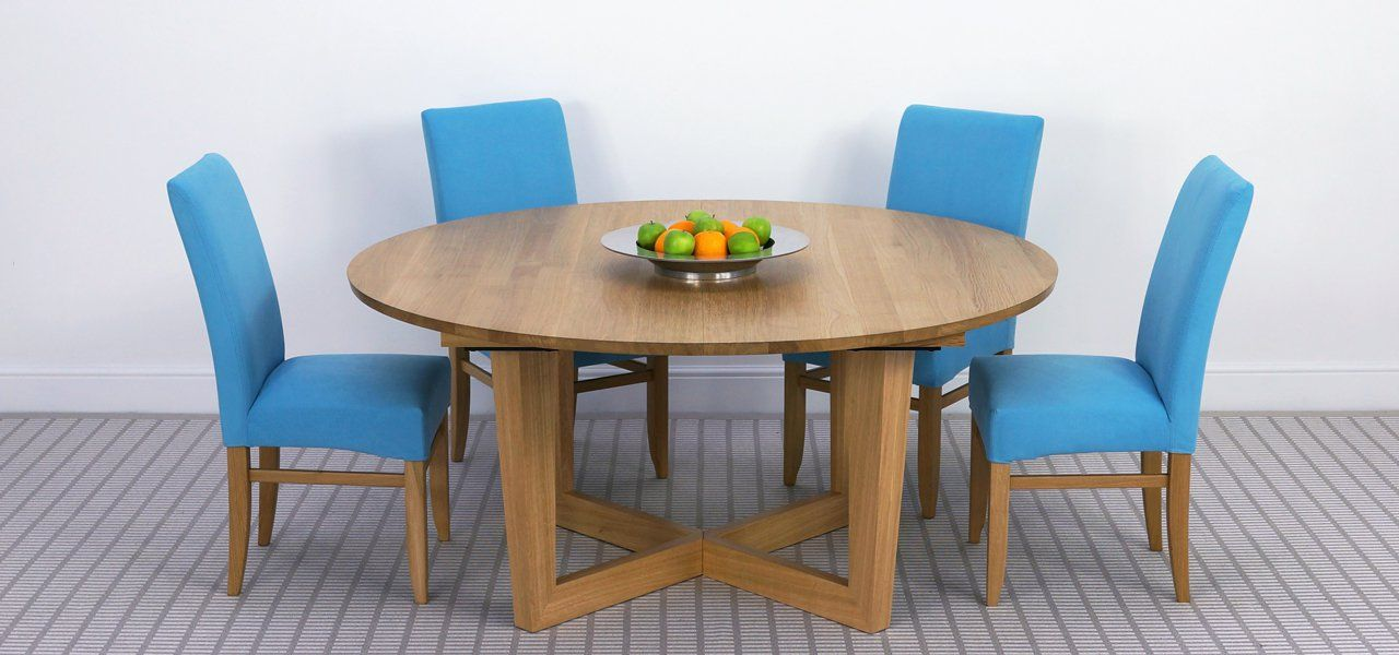 Brunel Large Round Extending Table In Solid Oak Shown Or