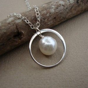 Pearl and Ring Necklace All Solid STERLING SILVER by rhoswenstudio, $28.00