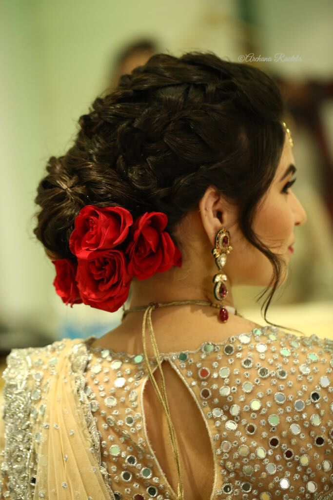 Brides With Lower Bun Going Trendy Hair Artistry By Archana Rautela Hair Styles Indian Bridal Hairstyles Bridal Hair Buns