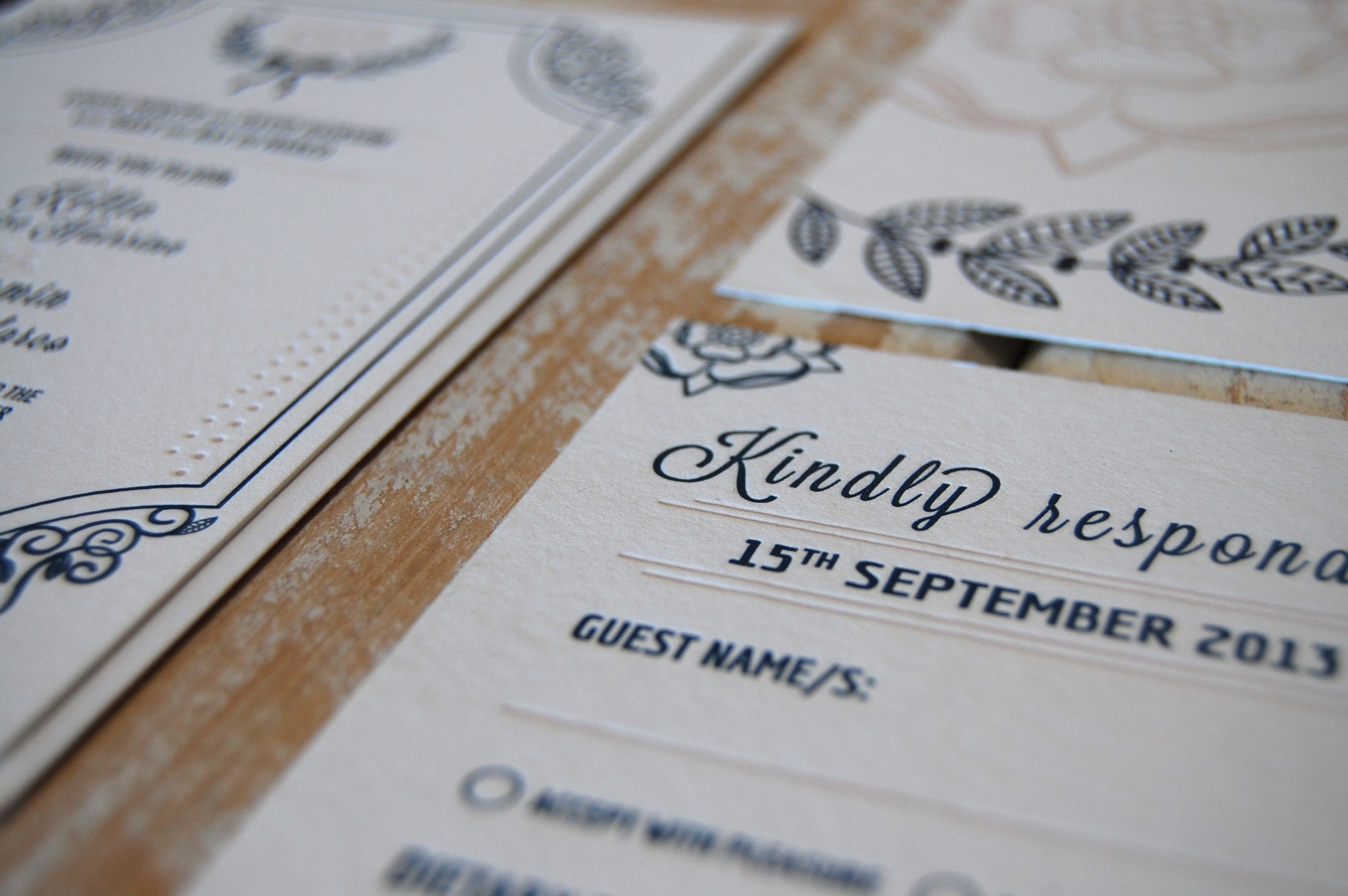 Yorkshire Rose {Letterpress} {Designed and Printed by Little Peach Co.}   Ben & Kellie's invitation design marries vintage elements with a yorkshire rose and subtle hints of the groom's Italian heritage.   Printing: One Colour on Crane & Co. 100% Cotton Lettra 300gsm in Pearl White.