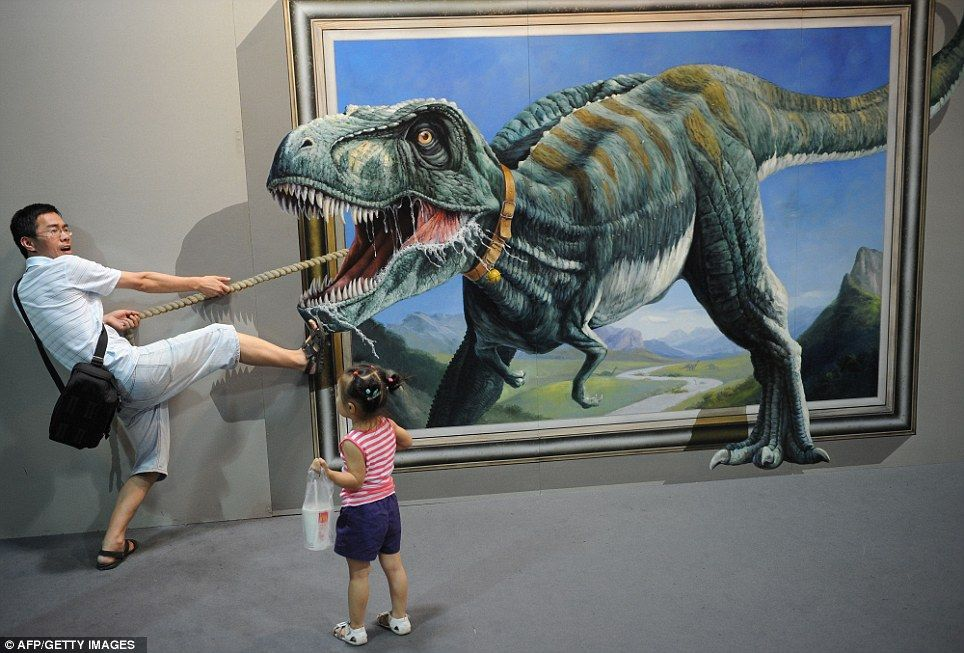 3d Dinosaur Wall Art acting the part: visitors the focal point in new interactive show