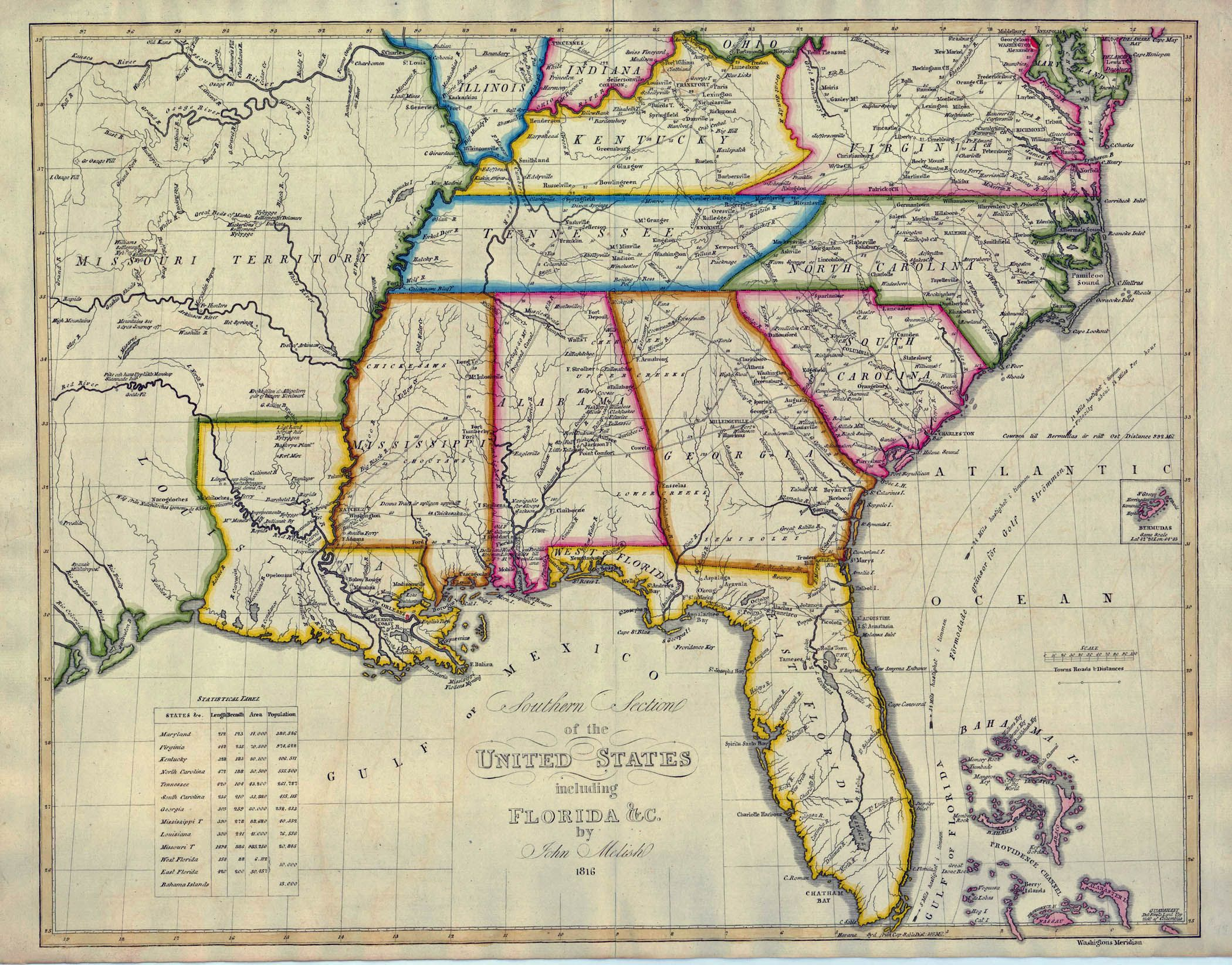 Atlanta GA Map of Southern United States 1824 Southern United
