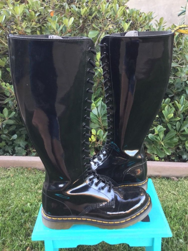 9c3657be19e Doc Martens (size 8) 20-EYElet Black Patent Leather Knee High Boots ...