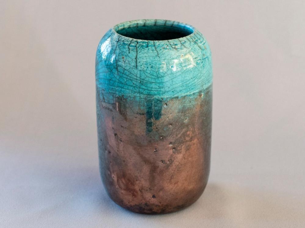 Handmade Ceramic Flower Pot Vase Raku Fired Turquoise Etsy Ceramic Flower Pots Handmade Ceramics Ceramic Flowers
