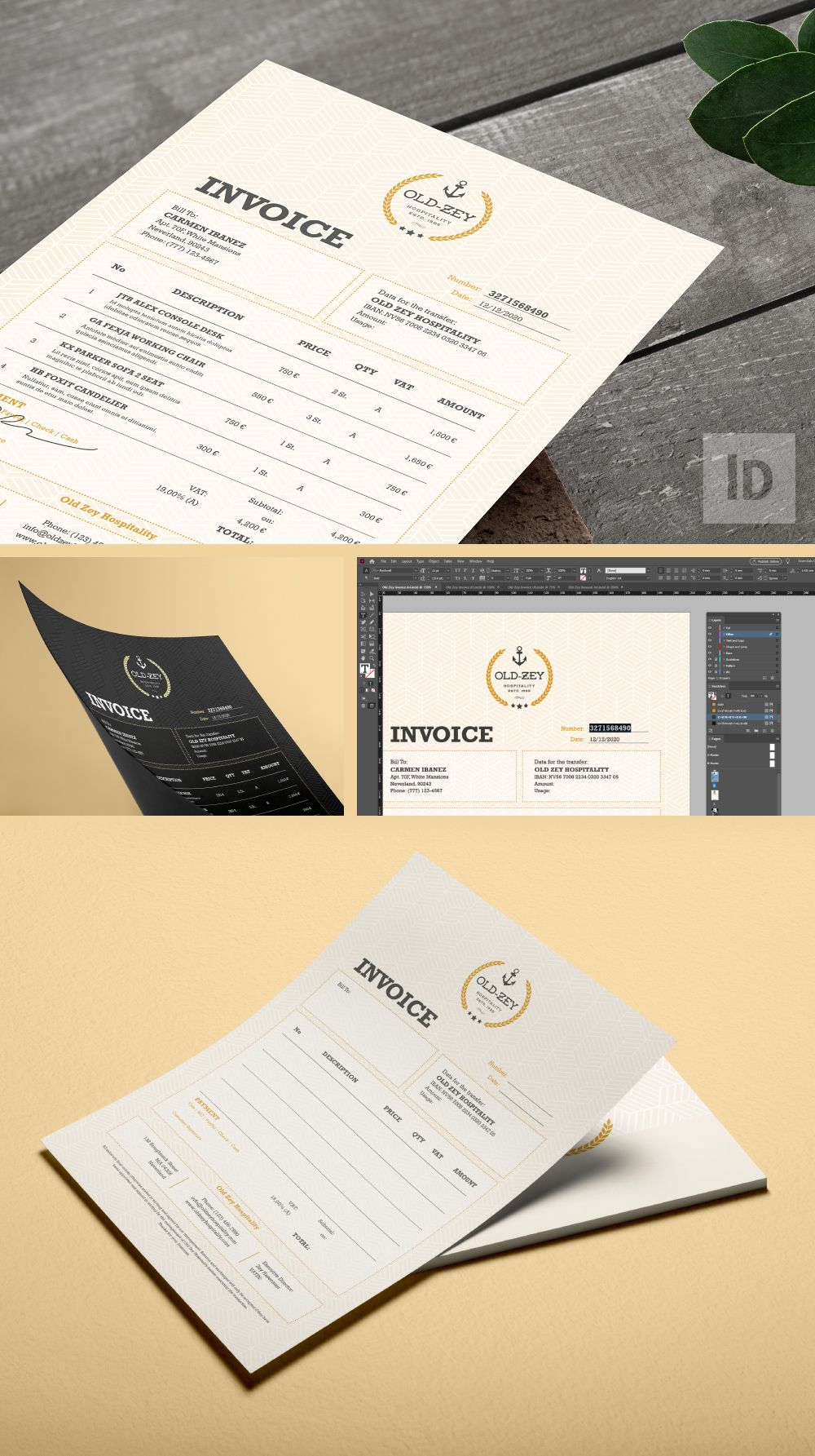 Have you ever thought a stationery that can be printed and archived as digital format at the same time? Because we have! Meet Old Zey Hospitality Invoice ID and Ai (separated item) | #accounting #bill #branding #buyer #commerce #commercial #creative #design #homefurnishing #hospitality #identity #indesign #industrial #informational #invoice #marketing #paper #payment #printdesign #purchase #quotation #quotationtemplate #quotes #receipt #record #sales #stationery #studio #template #transaction