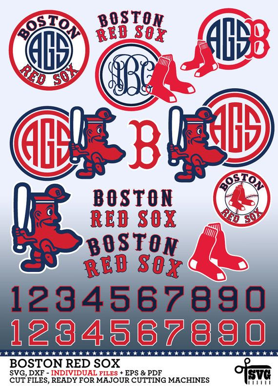 Boston Red Sox Monogram Frame Logos Numbers. SVG, DXF, EPS, PNG cut ...