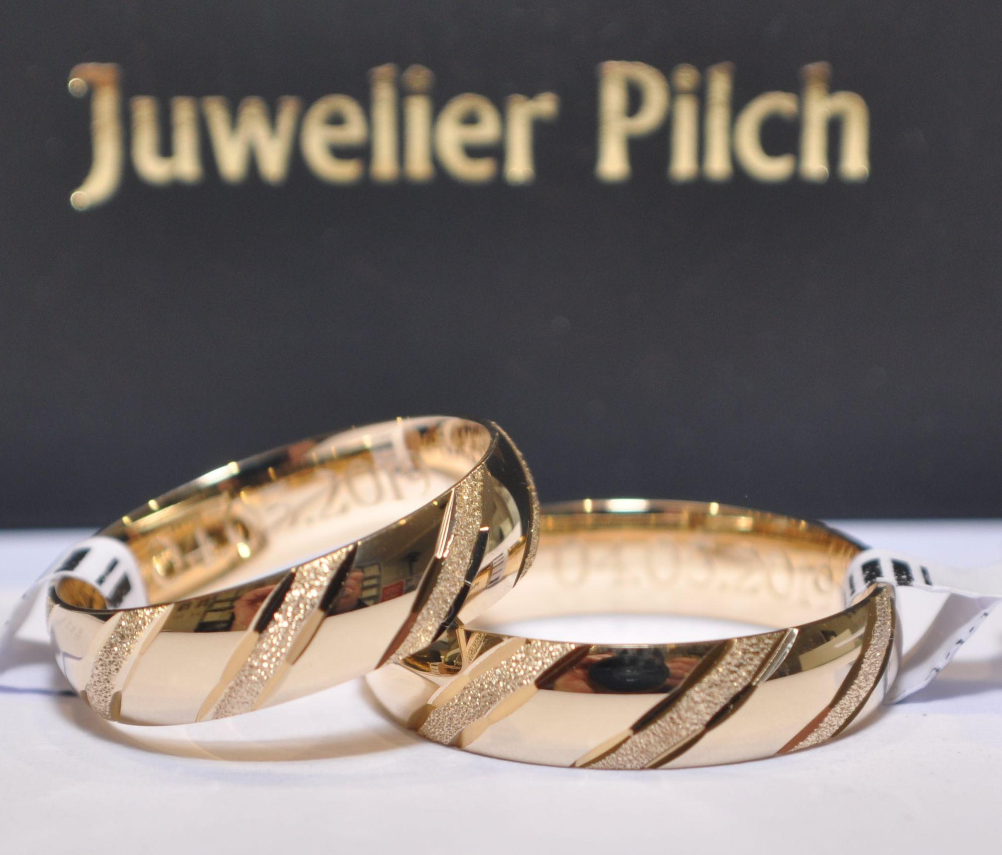 4 Paar Trauringe Hochzeitsringe Gold 4 - Breite: 4,4 mm - Stärke
