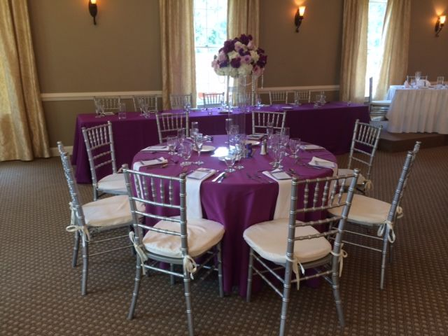 The Silver Chiavari Chairs Really Pop With The Plum Tablecloths In The  Celebrations At Sand Springs