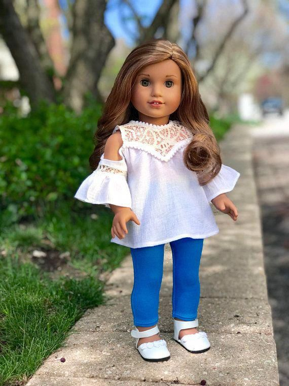 Trendy Girl - Doll Clothes for 18 Inch Dolls - 3 Piece Doll Outfit - White Cotton Blouse, Turquoise Leggings and White Shoes #americandolls