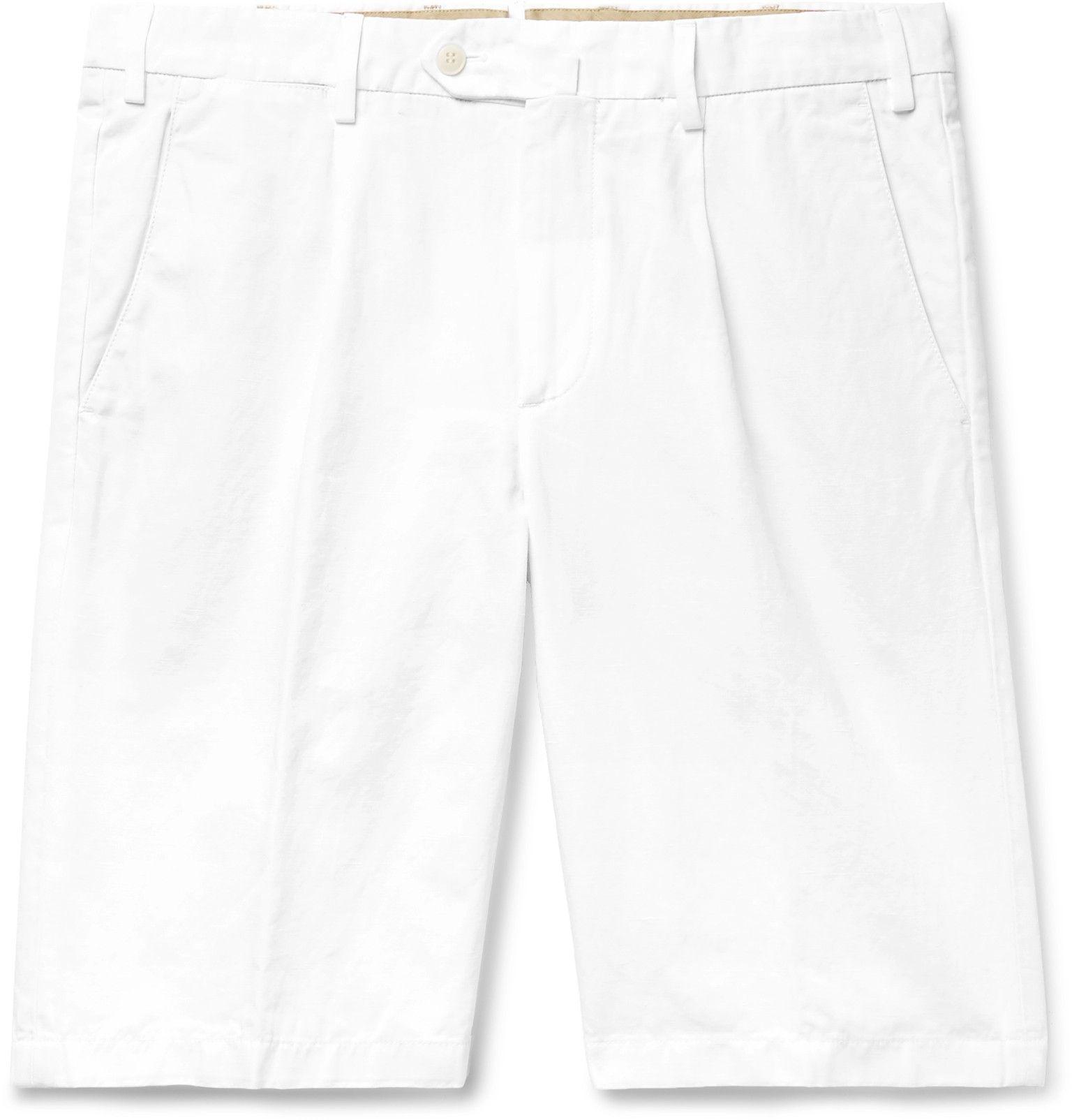 Loro Piana Slim Fit Pleated Cotton and Linen Blend Bermuda