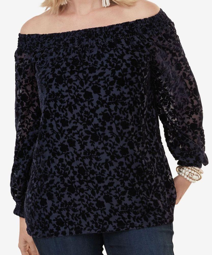 66889ef9d2 Roaman s Velvet Off-The-Shoulder Top in Deep Navy Floral 3X 32W NWT 50%  Off!  Roamans  Top