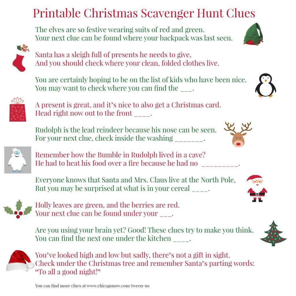 Christmas Gift Scavenger Hunt Riddles: 70 Printable Christmas Scavenger Hunt Clues