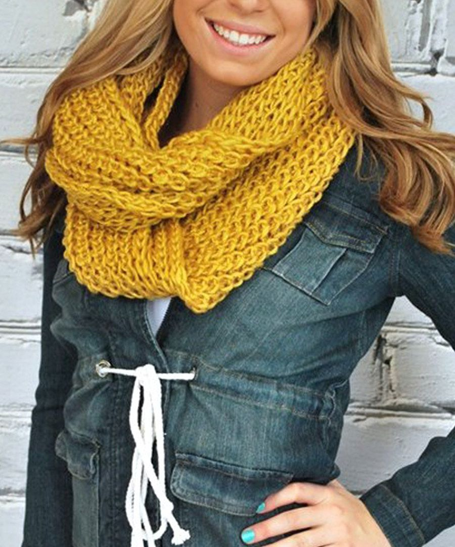 Look at this Mustard Infinity Scarf on #zulily today!