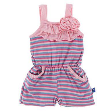 7999fb7b52 KicKee Pants Little Girls Print Flower Romper with Pockets - Flamingo  Anniversary Stripe