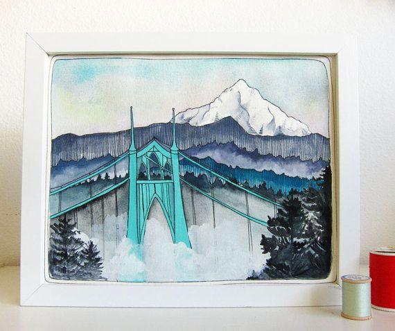 Portland Oregon Art St Johns Bridge Mt Hood Art Illustration