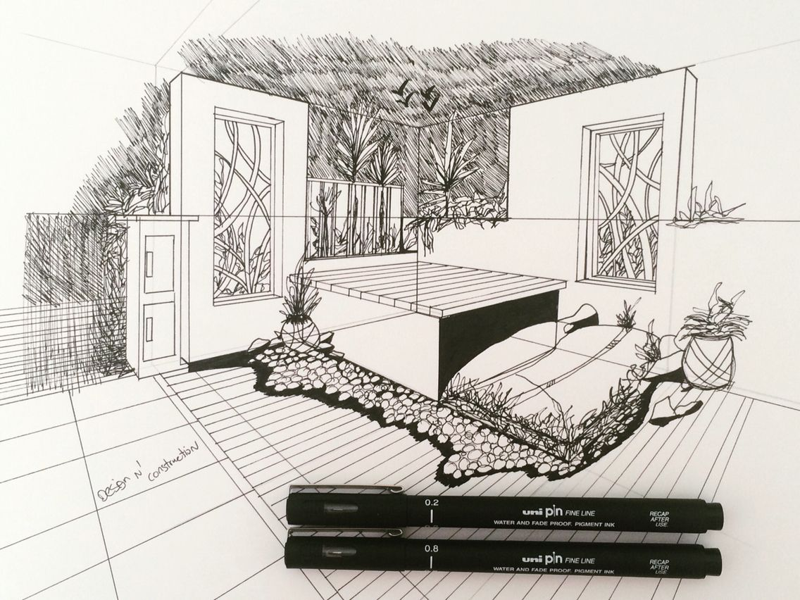 Garden Sketch Using Two Point Perspective Watch This Tutorial Online On Design N Construction