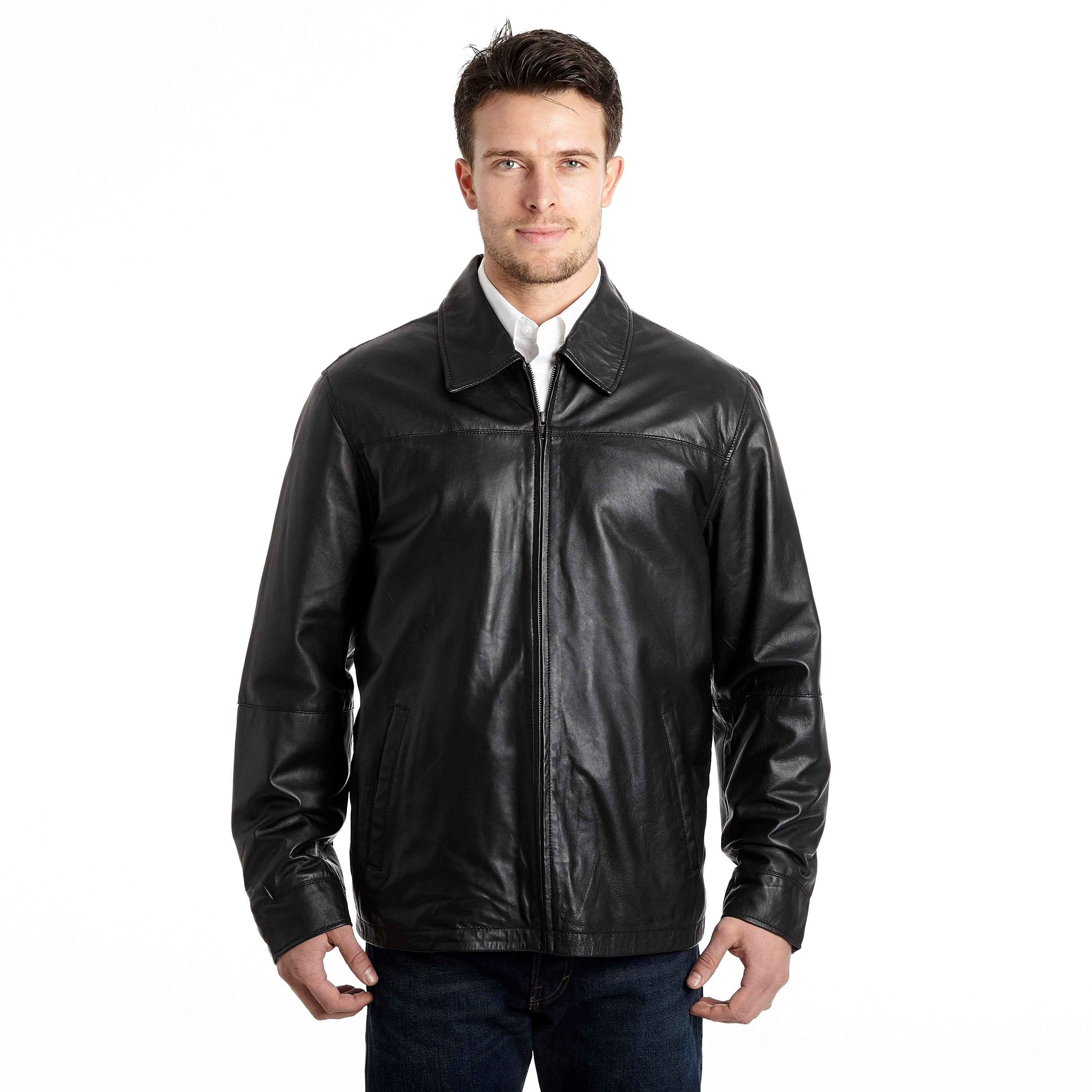 Men's Lamb Leather Open Bottom Jacket with Self Belted