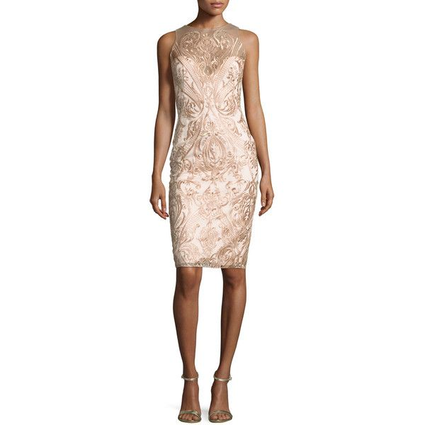 Marchesa Notte Sleeveless Embroidered Illusion Cocktail Dress (£490 ...