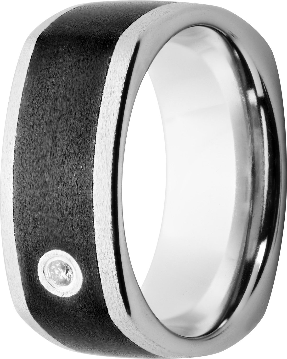Euro Square Vitalium And Black Ceramic Wedding Band With Diamond Www Jewelryinnovationsinc Com Ceramic Wedding Bands Diamond Wedding Bands Rings For Men