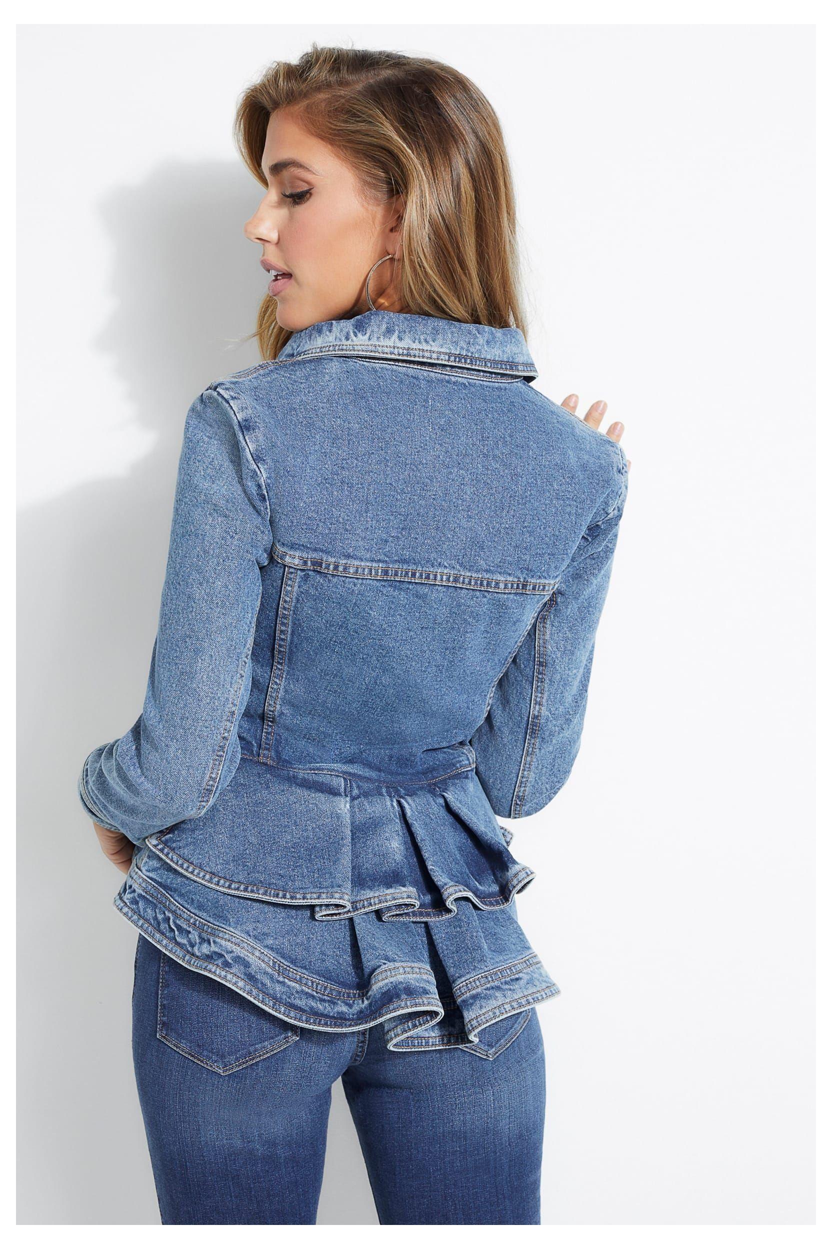 Peplum Denim Jacket Guess Guess Denim Jacket Women Guessdenimjacketwomen Shop Iconic Styles Like The Pe In 2021 Denim Fashion Denim Jacket Women Upcycle Clothes [ 2496 x 1664 Pixel ]
