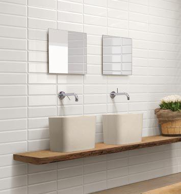 Stacked Bond Pattern White Bathroom Tiles Kitchen Wall Tiles