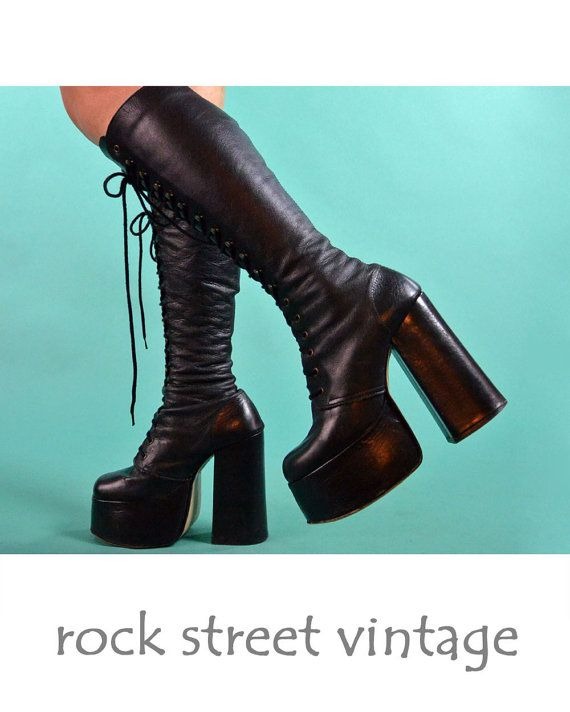 2d076431c4d3 70s Boots PLATFORM BOOTS Vintage Black Leather Boots Womens Tall Lace Up  Boots Steampunk Rocker Hippie