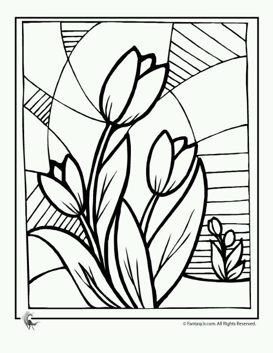 Flores Vidrio Flower Coloring Pages Glass Painting Designs Spring Coloring Pages