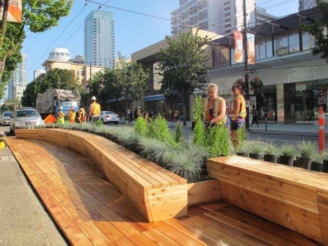Parklet. Wooden benches