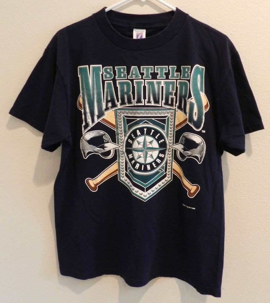 vtg Seattle Mariners T Shirt Logo 7 Mens L Griffey Edgar