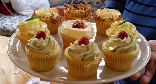 Homemade muffins from my Sister. Pistachio-rasberry, Vanila-nouga, Lime (citron vert) and the middle one is  Confit of figues with rhum...