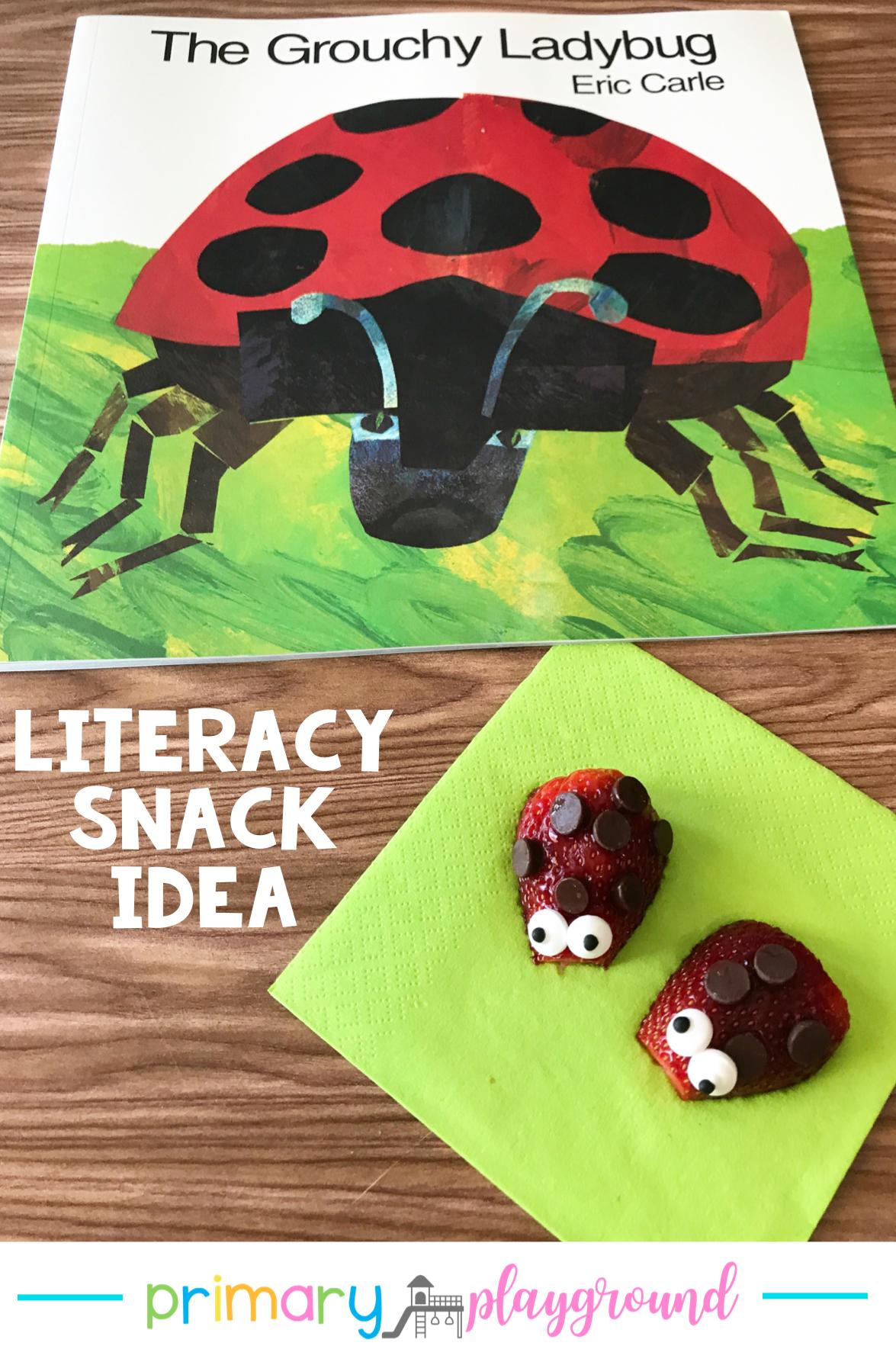 Literacy Snack Idea Ladybug Free Printable