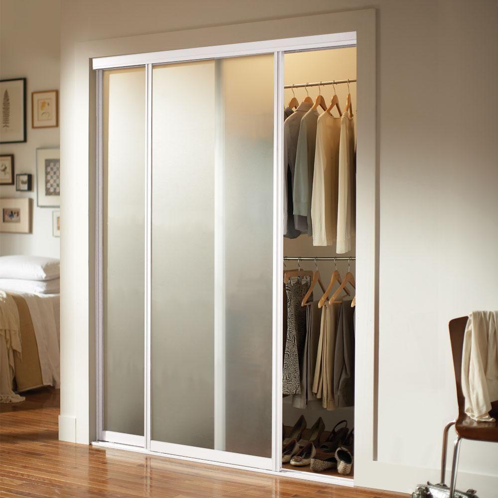 Contractors Wardrobe 48 In X 81 In Silhouette 1 Lite White Aluminum Frame Mystique Glas In 2020 Glass Closet Doors Sliding Mirror Closet Doors Sliding Doors Interior