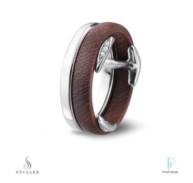 The Diamond Accented Clips Hold Platinum And Wood Together In This Stuller Men S Band