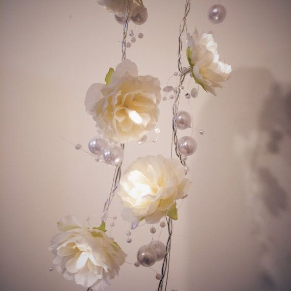 Creamy White Rose Garland Fairy Lights with Pearl Strings, White Rose Flower String Lights ...
