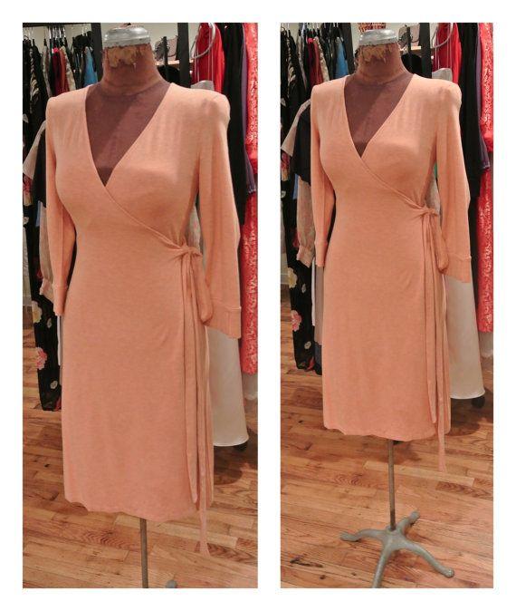 1990s Peach Diane vonFurstenberg Wrap Dress Vintage Designer Long Sleeve von Furstenberg Wrap Stretch Knit Midi Dress Casual Party Dress